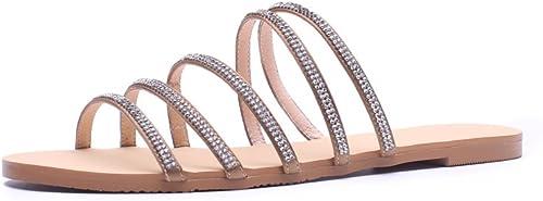 JIANXIN Strass Roman Pantoufles Pantoufles Femme Porter Mode Sauvage Extérieure Flip Flops Out Sandales Fond Plat été (Couleur   argent, taille   EU 39 US 8 UK 5.5)  en soldes