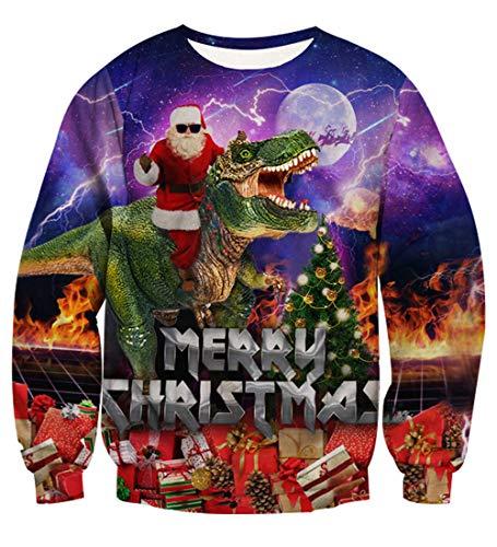 Rave on Friday novità Pullover Natale Babbo Natale e Dinosauro Stampare Brutta Natale Felpe Girocollo Casuale Sport Manica Lunga Peso Leggero Pull Sweatshirts M