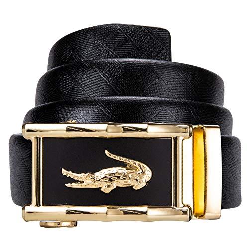 Dubulle Mens Black Leather Belt Sliding Buckle Ratchet Belt...
