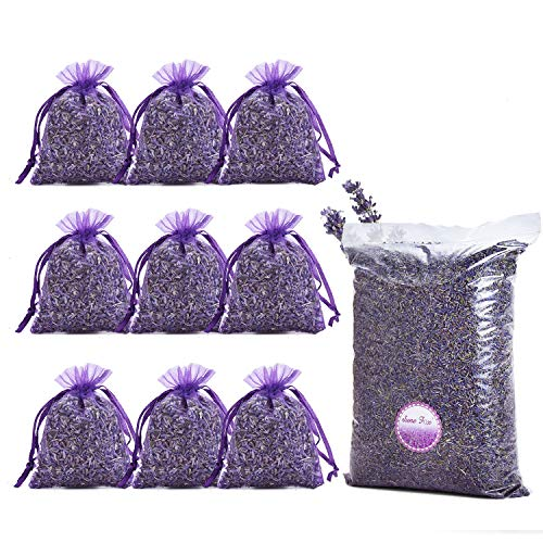 June Fox Fragrant Lavender Buds Dried Lavender Sachets Drawers Freshener Home Fragrance, 1 Pound & 40 Sachet Bags