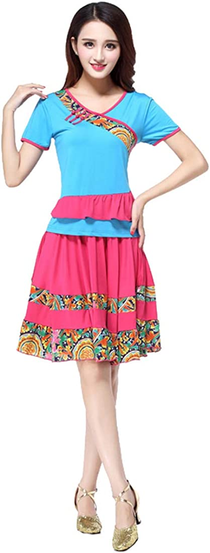 Huicai Women's Chinese Style Dance Top + Skirt Two Piece Casual Wear