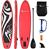 Goplus Inflatable Stand up Paddle Board Surfboard SUP Board with Adjustable Paddle Carry Bag Manual Pump Repair Kit Removable Fin for All Skill Levels, 6' Thick (Red, 11 FT)