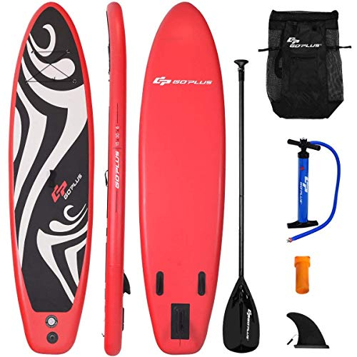 Goplus Inflatable Stand up Paddle Board Surfboard SUP Board with Adjustable Paddle Carry Bag Manual Pump Repair Kit Removable Fin for All Skill Levels, 6' Thick (Red, 10FT)