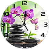 Cy-ril Flor Japonesa Orquídea Zen Stone Bamboo Reloj de Pared Redondo Silencioso Sin...