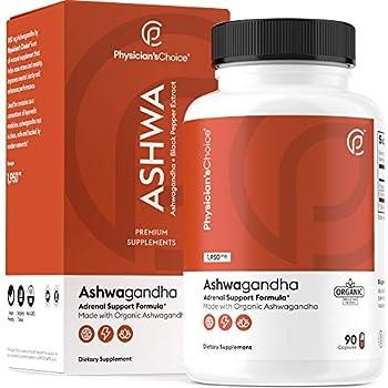 Ashwagandha 1950mg Organic Ashwagandha Root Powder with Black Pepper Extract Stress Relief Mood Support 90 Veggie Ashwagandha Capsules