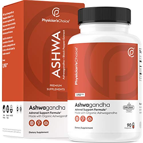 Ashwagandha 1950mg Organic Ashwagandha Root Powder with Black Pepper Extract, Stress Relief, Mood Support, 90 Veggie Ashwagandha Capsules