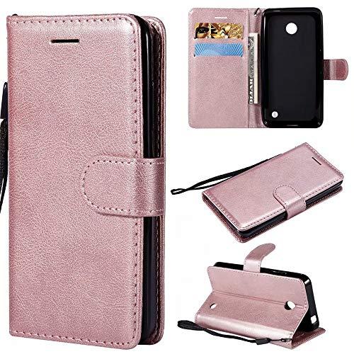 Custodia a portafoglio in pelle PU di alta qualità con supporto e cinturino da polso, compatibile con Nokia Lumia 630/635. (colore : oro rosa)