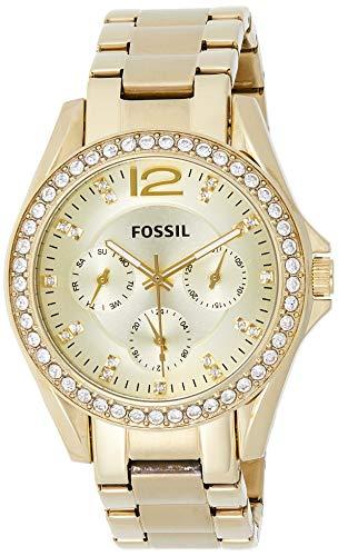 Fossil Damen Analog Quarz Uhr mit Weißgold Armband ES3203