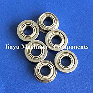 Fevas 50 PCS SMF74ZZ Flanged Bearings 4x7x2.5 mm Stainless Steel Flange Ball Bearings DDLF-740ZZ