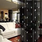 GoodFaith Cortina de cuentas de cristal, cortina de flecos de cristal, panel de cortina divisor, cortina de puerta, color negro