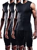 Neleus Men's 3 Pack Compression Wear Sport Athletic Sleeveless Tank Top,02,Black,2XL,Tag 3XL