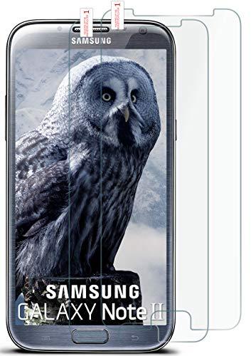 MoEx® HD Panzerglasfolie kompatibel mit Samsung Galaxy Note 2 | Panzerglas Kratzfest + Fast unsichtbar 9H Glas Schutzfolie, Kristall Klar 2X Stück