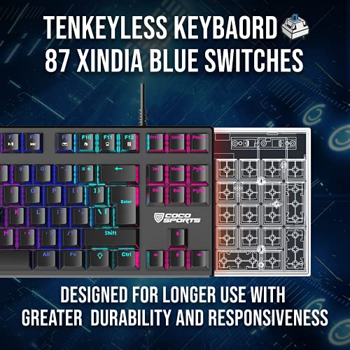 Coconut K12 Orion Tenkeyless Mechanical Gaming Multimedia Wired Keyboard with 87 Xindia Blue Switches with 26 Anti-Ghosting Keys, 1.5M Nylon Braided Cable with Golden USB Connector, Dedicated Media Control, WASD Mode, Rainbow LED Backlit with 9 Adjustable Lighting Modes - for PC/Laptop/Mac   TKL Gaming Keyboard