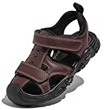DADAWEN Boys Girls Leather Closed-Toe Outdoor Athletic Summer Sport Sandals Beach Shoes Water Sandal (Toddler/Little Kid/Big Kid) Brown US Size 2.5 M Little Kid