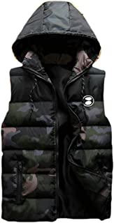 Pcutrone Mens Pocket Quilted Zipper Sleeveless Simple Hooded Jacket Down Vest