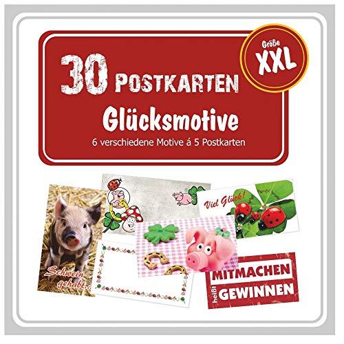 Unser-Festtag Postkartenset mit 30 XXL Postkarten, 6 verschiedene Glücks-Motive, Postkarten-Paket, Panorama Postcrossing Grußkarten