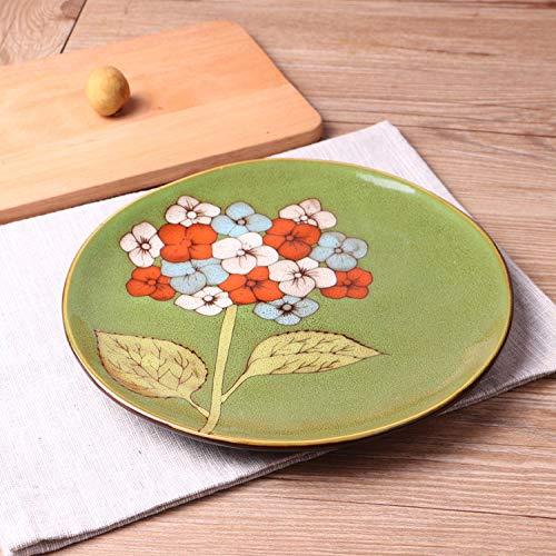 Generic Kreative handbemalte Keramikplatte Haushaltsgeschirr Restaurant Teller Hydrangea-3 Durchmesser: 21.3 cm Höhe: 2.5 cm