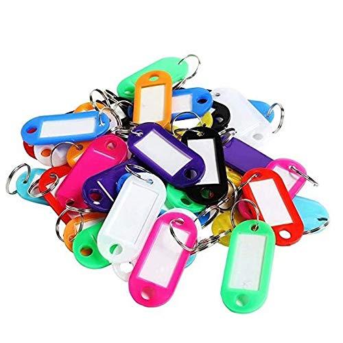 HANBIN 20 piezas Etiquetas para llaves con anillo Etiquetas para llaves de plástico Etiquetas para llaves Etiquetas para llaves de colores Etiquetas con llaveros como llaveros Equipaje Nombre de la