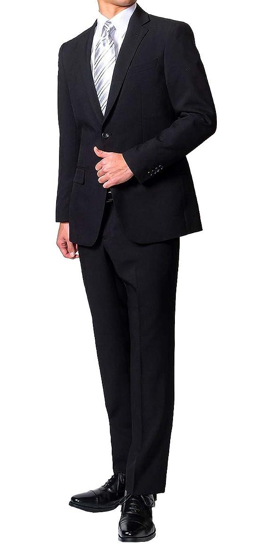 愚か暫定文房具礼服 (裾上げ済みでスグに使える) メンズ ブラックスーツ フォーマルスーツ (アジャスター付) 喪服 オールシーズン