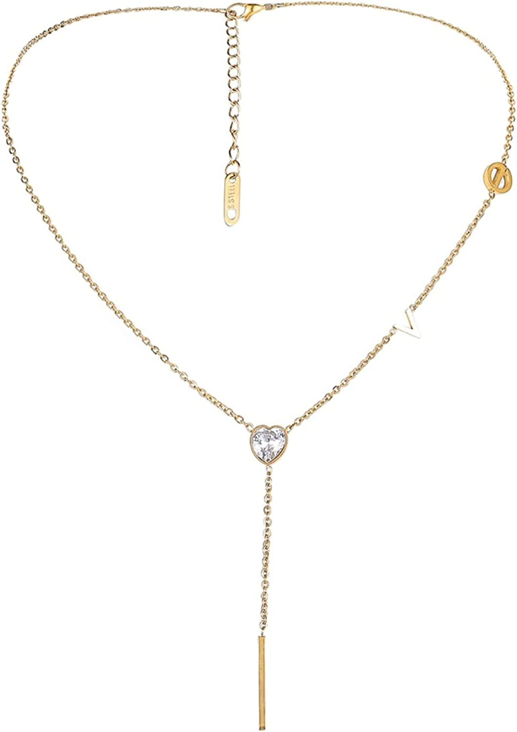 NEULRY Long LOVE Pendant Y-Necklace for Women, Golden Bar Tassel with Heart-shaped Rhinestone Y-Necklace