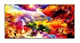 Dimensions - 29 inches x 58 inches + Additional border on each side for framing. Eco Friendly Digital Reproduction - 100% Pure Cotton Canvas – 0% PVC/Plastic, 0% Flex. Specially designed only for Fine Art reproduction. Thickness - 370 GSM. Finish - U...