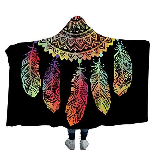 CADANIA Dekbedovertrek met capuchon sjaal met dubbele laag Faux Fleece verdikte jas tapijt Winter Warm 3D digitaal afdrukken