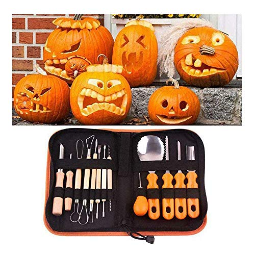 LCSW 13 Pieces Professional Pumpkin Carving Kit, Stainless Steel Sculpting Tools Halloween with Carrying Case, DIY Durable Reusable Pumpkin Carving Tool Set for Halloween