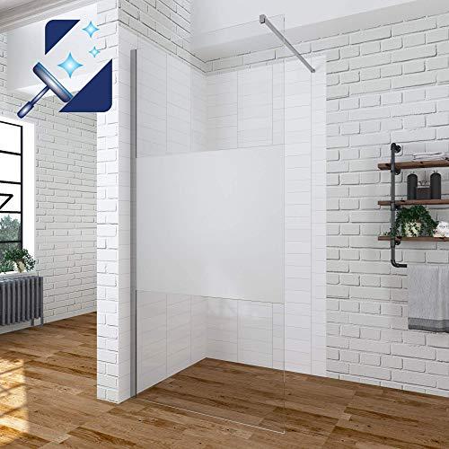 AQUABATOS® 120 x 200 cm Duschwand Glas Duschabtrennung Duschtrennwand Walk in Dusche Glaswand Duschglaswand aus 10 mm ESG Milchglas Teilsatiniert Nanobeschichtung mit Edelstahl Stabilisator 100 cm