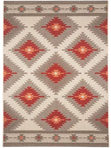 benuta In- & Outdoor Teppich Star Kilim Rot 120x170 cm | Pflegeleichter Teppich geeignet für Innen- und Außenbreich, Balkon und Terrasse