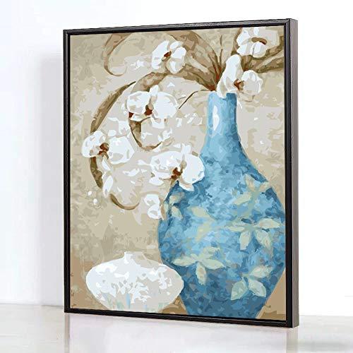 DIY digitale olieverfschilderij kleuren met de hand beschilderd cartoon cartoon decoratieve vaas Omlijst 40x50cm
