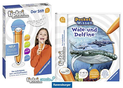 tiptoi Ravensburger Buch 4-7 Jahre | Pocket Wissen - Wale und Delfine + Ravensburger 008018 Stift - neu mit Aufnahmefunktion