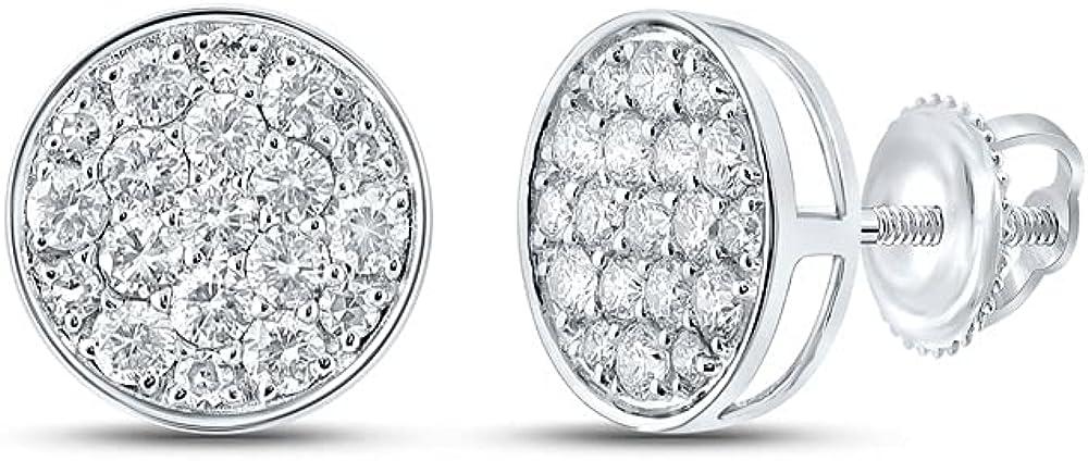 10kt White Gold Mens Round Diamond Cluster Earrings 1/2 Cttw