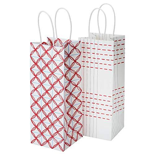 Geschenktüte für Flasche, weiß, rot gemustert, 2er-Pack, Produktgröße: Länge: 12 cm, Breite: 12 cm, Höhe: 32 cm, Volumen: 4,6 l, Lieferumfang: 2 Stück, Material: Papier