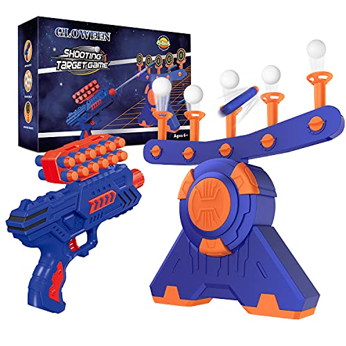 Shooting Game Toy for Age 5, 6, 7, 8, 9, 10+ Years Old Kids Boys, Floating Ball Targets Shooting Practice with Foam Blaster Toy Gun/ 10 Balls/ 5 Targets, Ideal Gift - Compatible with Nerf Toy Guns
