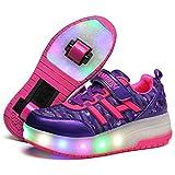 Zapatillas con Dos Ruedas para Niño y Niña LED Luces Skate Roller con Unisex Doble Ruedas Retráctil Skateboarding Rollerblades Zapatos
