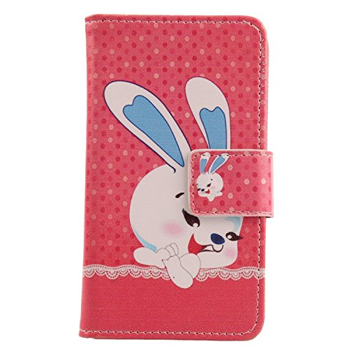 Lankashi PU Flip Leder Tasche Hülle Case Cover Schutz Handy Etui Skin Für Nokia 3310 3G 2017 / 4G 2018 (not for The Nokia 3310 2017) (Happy Rabbit Design)