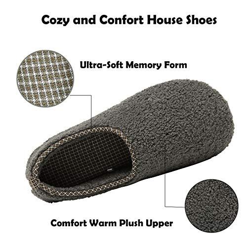 ChayChax Zapatillas de Estar por Casa para Mujer Invierno Cálido Pantuflas Memoria Espuma Ligero Comodo Suave Interior Zapatos de Algodón,Gris Oscuro,EU 42-43
