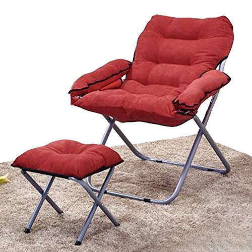 FUFU Patio Lounge Chairs Lounge Chair, Lounge Chair Office Lunch Break Student Dormitory Computer Chair Pregnant Woman Chair Folding Chair 80 * 51 * 76CM Durable (Color : Red)