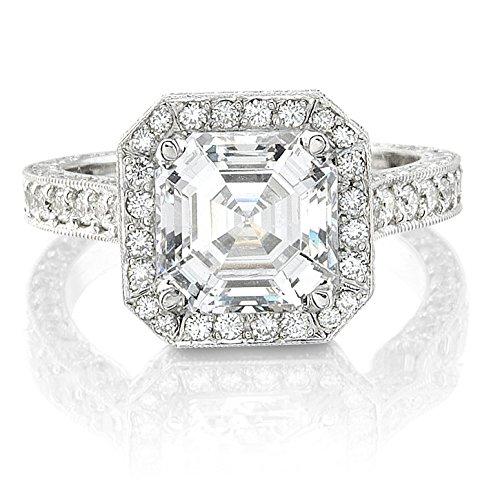 Ladies 14kt white gold engagement ring 1.00 ctw G-VS2 diamonds and 2 ct Asscher Cut White Sapphire Center