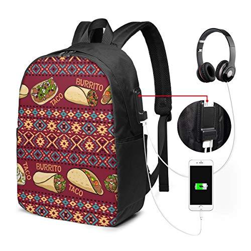 Reise Laptop Rucksack Taco und Burrito Computer Business Rucksäcke mit USB Ladeanschluss Unisex School Bookbag Casual Hiking Daypack