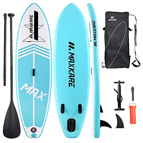 MaxKare Inflatable Paddle Board Stand Up Paddle Board SUP with Premium Stand-up Paddle Board Accessories&Non-Slip Deck ISUP Backpack Paddle Leash Pump Paddle Board for Fishing for Adult & Youth&Kid