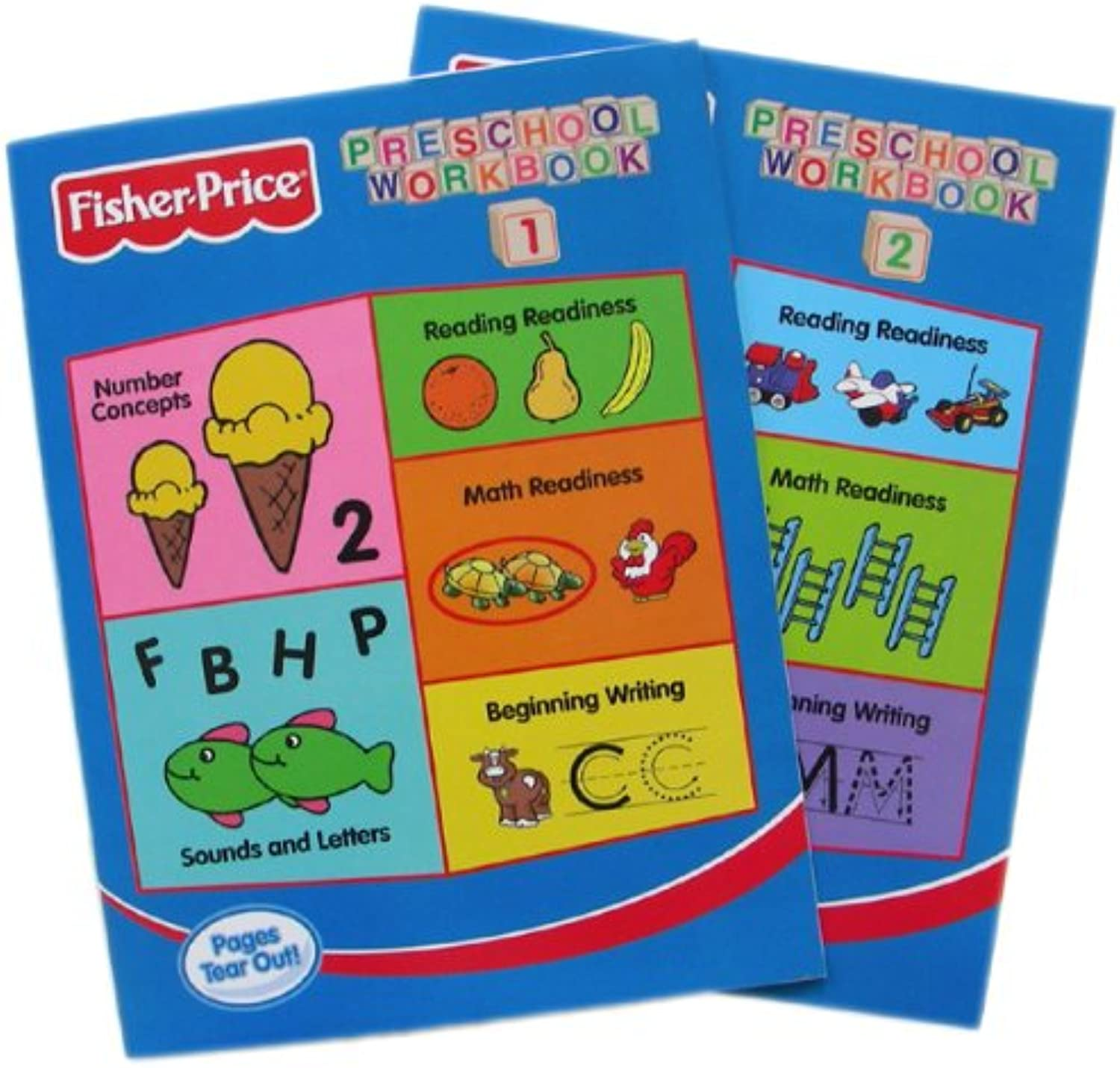Fisher-Price Preschool Pre-school Workbooks Vol 1 & 2 - 2pc Set