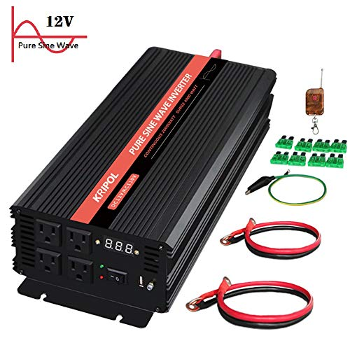 KRIPOL 2000 Watt Pure sine Wave Inverter 12v DC to 110v AC Car Power Inverter with 4 AC Outlets & 1 USB Output Power Battery Converter-Peak Power 4000W