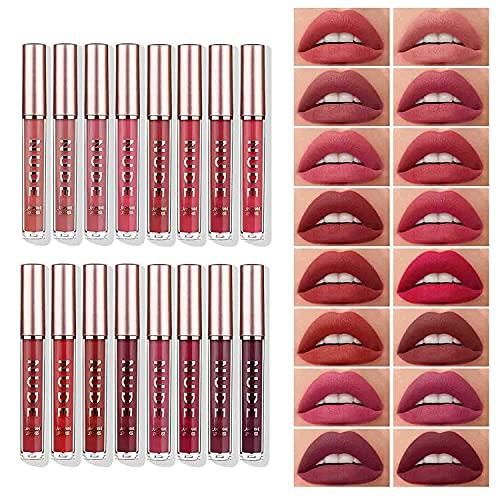 Matte Liquid Lipstick with Lip Plumper Makeup Set Velvety Long Lasting Waterproof High Pigmented Velvet Lipgloss Kit Beauty Cosmetics Makeup Gift Set (16PCS)