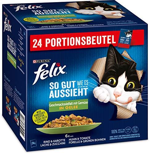 FELIX Katzennassfutter So gut wie es aussieht in Gelee Geschmacksvielfalt vom Land mit Gemüse, 4er Pack (4 x 24 x 85g) Portionsbeutel
