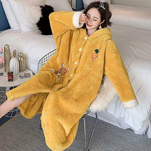FDJIAJU Robes Voor Vrouwen, Cartoon Mooie Dikke Hooded Nachtjassen Winter Badjas Dames pyjama Bad Flanellen Warm Robe Slaapmode Womens Koraal Fluwelen Dressing Jurk