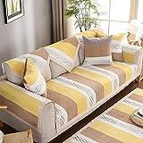 Suuki Funda Cubre Sofá Chaise Longue,1/2/3/4 Seater Sofa Saver,Non-Slip Striped Couch Slipcover,Universal Fabric Sofa Cushion Resistant Pet -Yellow_70*70cm-Vendido por Pieza