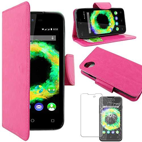 ebestStar - kompatibel mit Wiko Sunset 2 (2015) Hülle Sunny 1 (2016) Wallet Case Handyhülle [PU Leder], Kartenfächern Standfunktion, Pink +Panzerglas Schutzfolie [Phone: 128 x65.6 x10.9mm 4.0