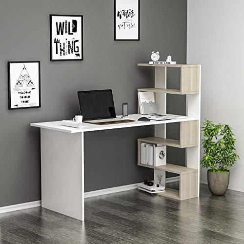 DELUXE Scrivania - Scrivania per computer - Scrivania ufficio - PortaPC - Tavolo per Computer con mensola (Bianco / Avola)