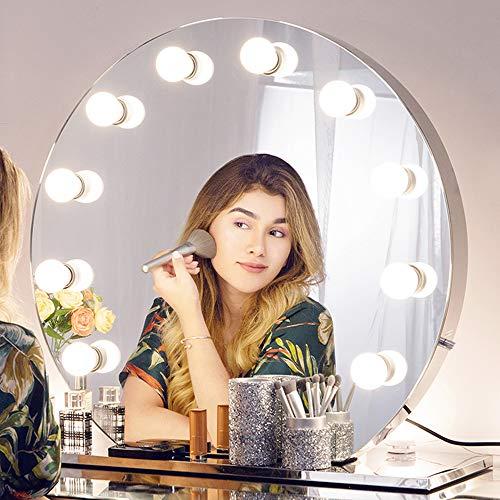 Chende Runden Schminkspiegel Mit Licht für Schminktisch, Hollywood Spiegel mit Beleuchtung für Wandmontage, Große Professioneller Kosmetikspiegel für Schlafzimmer